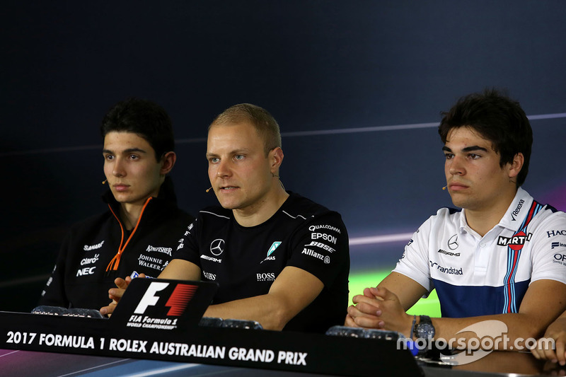 Esteban Ocon, Sahara Force India F1 Team; Valtteri Bottas, Mercedes AMG F1; Lance Stroll, Williams