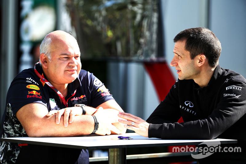 Rob Marshall, Red Bull Racing, Chefingenieur; Remi Taffin, Renault Sport F1, Motorenleiter