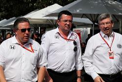 Zak Brown, McLaren Executive Director with Eric Boullier, McLaren Racing Director and Ross Brawn, Managing Director, Motor Sports