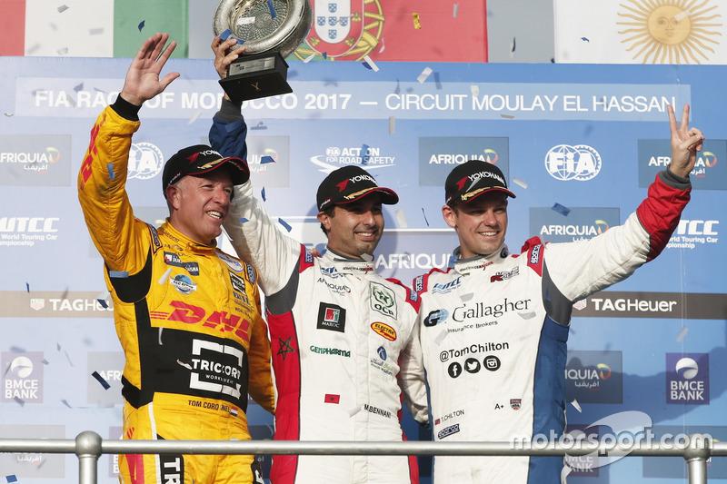 Podium WTCC Trophy: 1. Mehdi Bennani, Sébastien Loeb Racing, Citroën C-Elysée WTCC; 2. Tom Coronel,