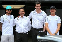 Льюіс Хемілтон, Ніко Росберг і Тото Вольфф, Mercedes AMG F1 Team