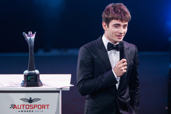 Rookie of the Year award winner Charles Leclerc on stage
