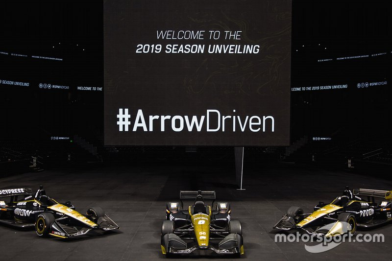 Arrow Schmidt Peterson Motorsports-Hondas of (left to right) James Hinchcliffe, Robert Wickens, Marcus Ericsson.