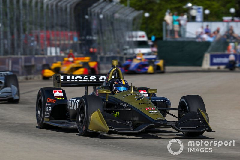Rookie Ericsson leads three IndyCar champions and/or Indy 500 winners – Will Power (barely in frame), Ryan Hunter-Reay and Rossi – in the closing stages of the second Detroit race.