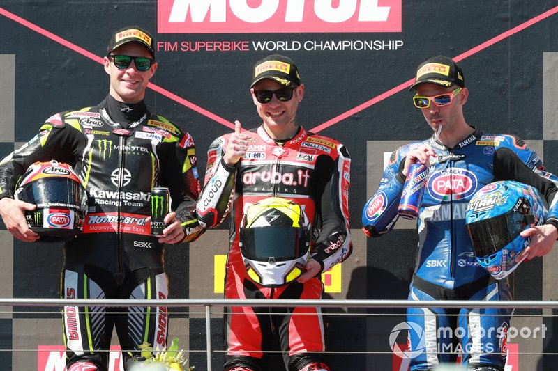 Second place Jonathan Rea, Kawasaki Racing, winner Alvaro Bautista, Aruba.it Racing-Ducati Team, third place Marco Melandri, GRT Yamaha WorldSBK