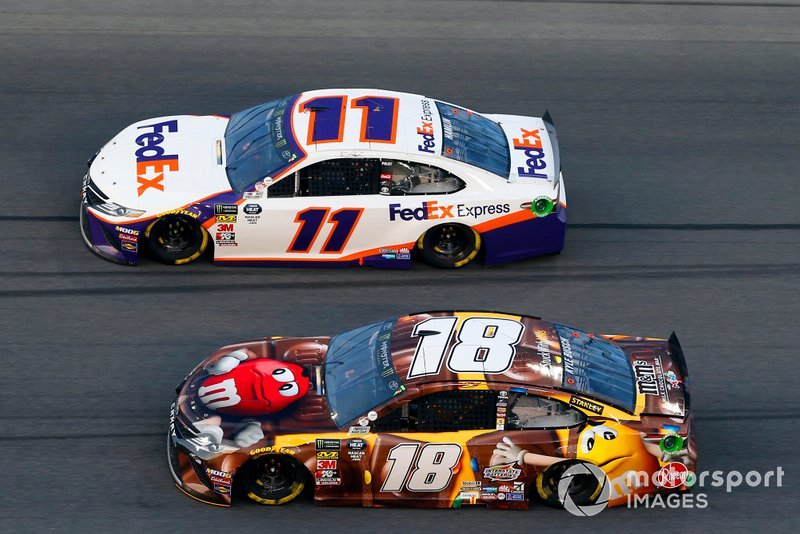 Kyle Busch, Joe Gibbs Racing, Toyota Camry M&M's Chocolate Bar and Denny Hamlin, Joe Gibbs Racing, Toyota Camry FedEx Express