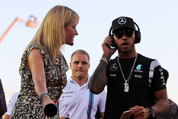 Lewis Hamilton, Mercedes AMG F1 with Rachel Brookes, Sky Sports F1 Reporter on the drivers parade