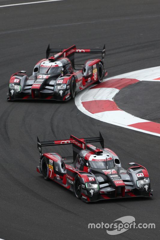 #7 Audi Sport Team Joest Audi R18: Marcel Fässler, Andre Lotterer; #8 Audi Sport Team Joest Audi R18