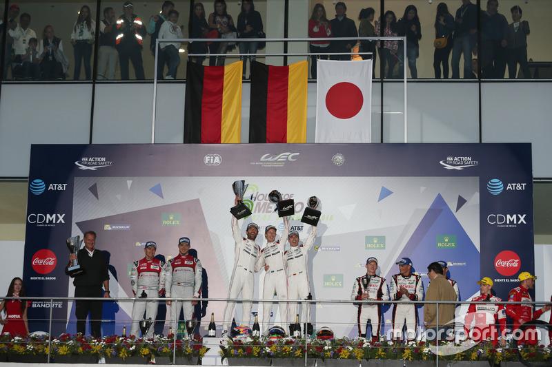 Podium: Race winner #1 Porsche Team Porsche 919 Hybrid: Timo Bernhard, Mark Webber, Brendon Hartley; second place #7 Audi Sport Team Joest Audi R18: Marcel Fassler, Andre Lotterer, Benoit Tréluyer; third place #6 Toyota Racing Toyota TS050 Hybrid: Stéphane Sarrazin, Mike Conway, Kamui Kobayashi