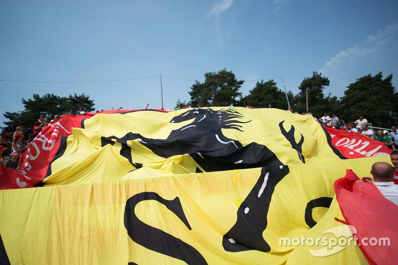 A large Ferrari banner