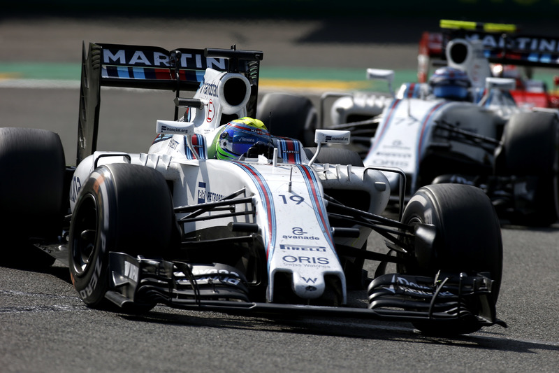 Felipe Massa, Williams FW38 Mercedes, avanti a Valtteri Bottas, Williams FW38 Mercedes