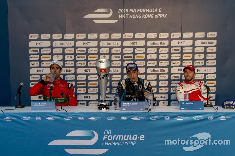Press Conference: Race winner Sébastien Buemi, Renault e.Dams; second place Lucas di Grassi, ABT Schaeffler Audi Sport; third place Nick Heidfeld, Mahindra Racing
