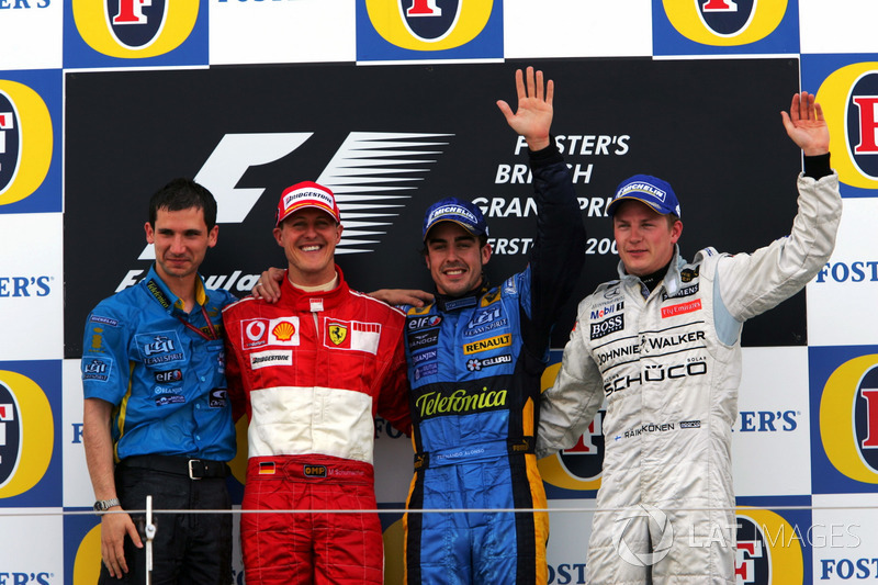 Podium: Remi Matin Renault F1 Team, second place Michael Schumacher, Ferrari, Race winner Fernando Alonso, Renault F1 Team, third place Kimi Raikkonen, McLaren