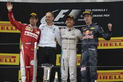Second place Sebastian Vettel, Ferrari, Tony Ross, Race Engineer, Mercedes AMG F1, Nico Rosberg, Mercedes AMG F1, race winner, Daniil Kvyat, Red Bull Racing, third place, on the podium