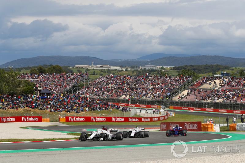 Marcus Ericsson, Sauber C37, Sergey Sirotkin, Williams FW41 and Brendon Hartley, Toro Rosso STR13