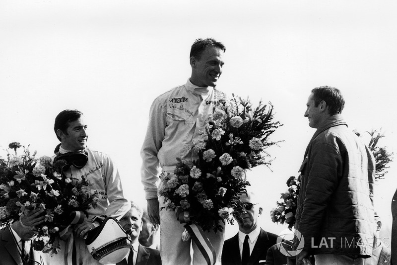 Post-Belgian GP in 1967, and Gurney is flanked by future three-time World Champion Jackie Stewart of BRM and arguably the unluckiest F1 ace in history, Chris Amon (Ferrari).