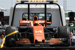 The car of race retiree Fernando Alonso, McLaren MCL32