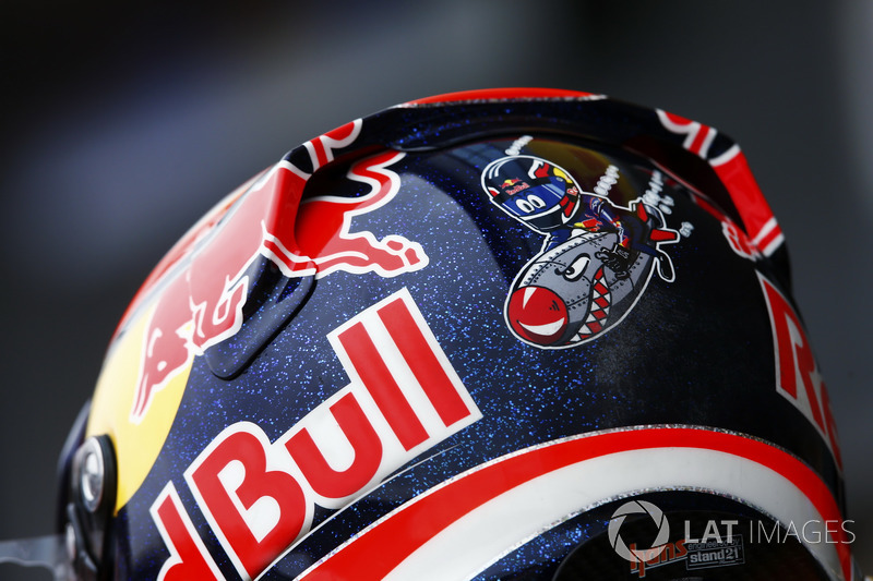Detalle del diseño de la parte trasera del casco de Daniel Ricciardo, Red Bull Racing
