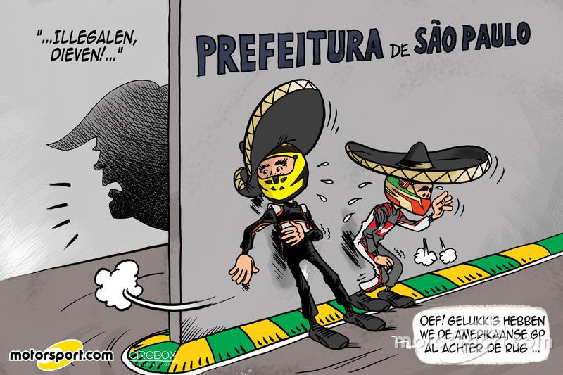 Cartoon van Cirebox - Op de vlucht voor Trump