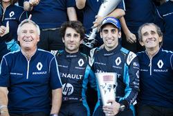 Jean-Paul Driot with Nicolas Prost, Renault e.Dams; Sebastien Buemi, Renault e.Dams and Alain Prost