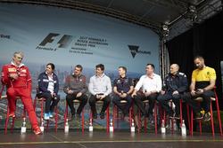 Maurizio Arrivabene, Teamchef, Ferrari;Monisha Kaltenborn, Teamchef, Sauber; Günther Steiner, Teamchef, Haas F1 Team; Toto Wolff, Sportchef, Mercedes AMG; Christian Horner, Teamchef, Red Bull Racing; Eric Boullier, Renndirektor, McLaren; Franz Tost, Teamch