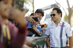 Felipe Massa, Williams, has a picture taken with fans