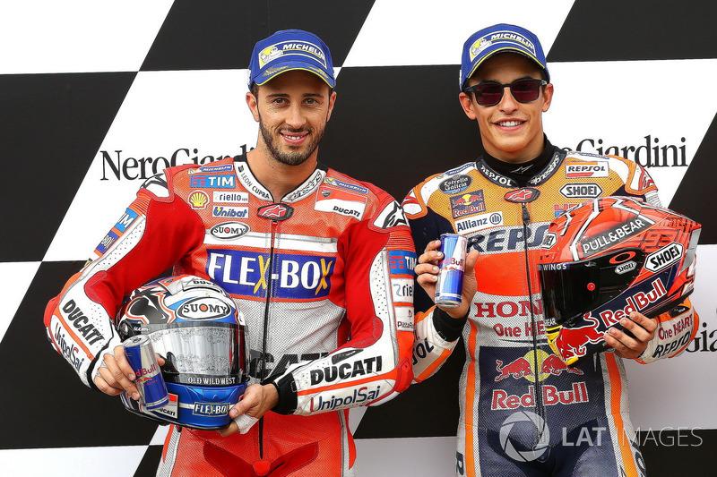 Second place for Andrea Dovizioso, Ducati Team, Polesitter Marc Marquez, Repsol Honda Team