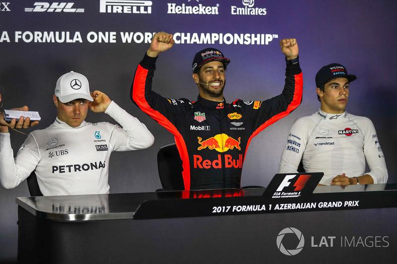 Valtteri Bottas, Mercedes AMG F1, Daniel Ricciardo, Red Bull Racing and Lance Stroll, Williams in the Press Conference