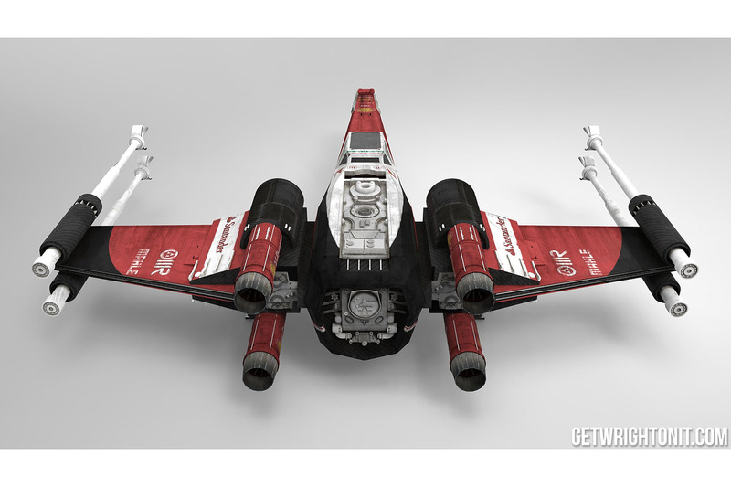 Star Wars X-Wing con la decoración de Ferrari