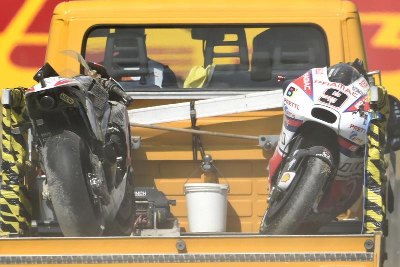 The crashed bikes of Cal Crutchlow, Team LCR Honda, Danilo Petrucci, Pramac Racing