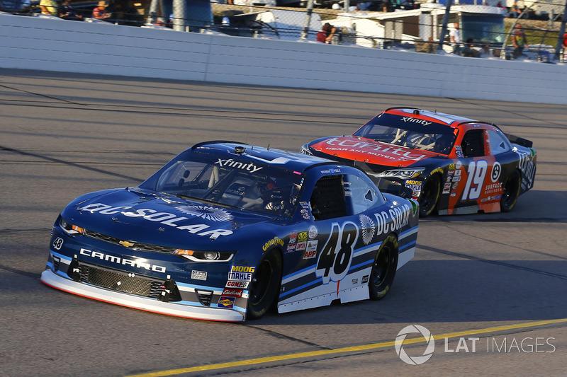 Brennan Poole, Chip Ganassi Racing Chevrolet, Matt Tifft, Joe Gibbs Racing Toyota