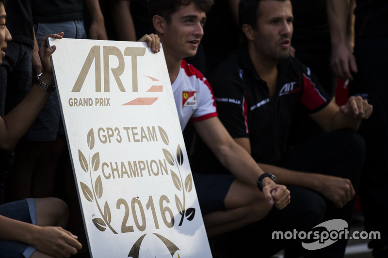 Charles Leclerc, ART Grand Prix; Nirei Fukuzumi, ART Grand Prix; Alexander Albon, ART Grand Prix and