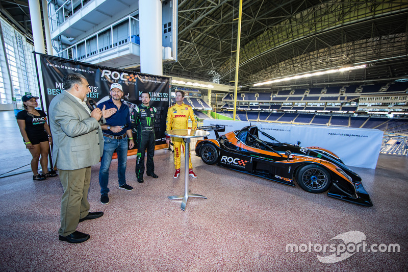 Presidente de Race of Champions Fredrik Johnsson, Kurt Busch y Ryan Hunter-Reay