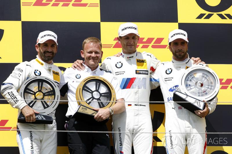 Podium: Race winner Marco Wittmann, BMW Team RMG, second place Timo Glock, BMW Team RMG, third place Philipp Eng, BMW Team RBM, Stefan Reinhold, Team principal, BMW Team RMG