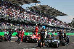 Pole sitter Sebastian Vettel, Ferrari SF70H celebrates in parc ferme