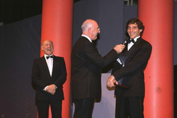 Ayrton Senna receives his award from Murray Walker
