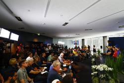 Sergio Perez, Force India, Nico Hulkenberg, Renault Sport F1 Team, Sebastian Vettel, Ferrari, and Brendon Hartley, Toro Rosso, face the media in the Press conference