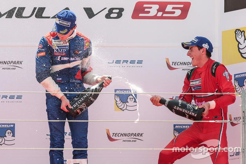 1. Egor Orudzhev, SMP Racing by AVF; 3. Alfonso Celis Jr., Fortec Motorsports