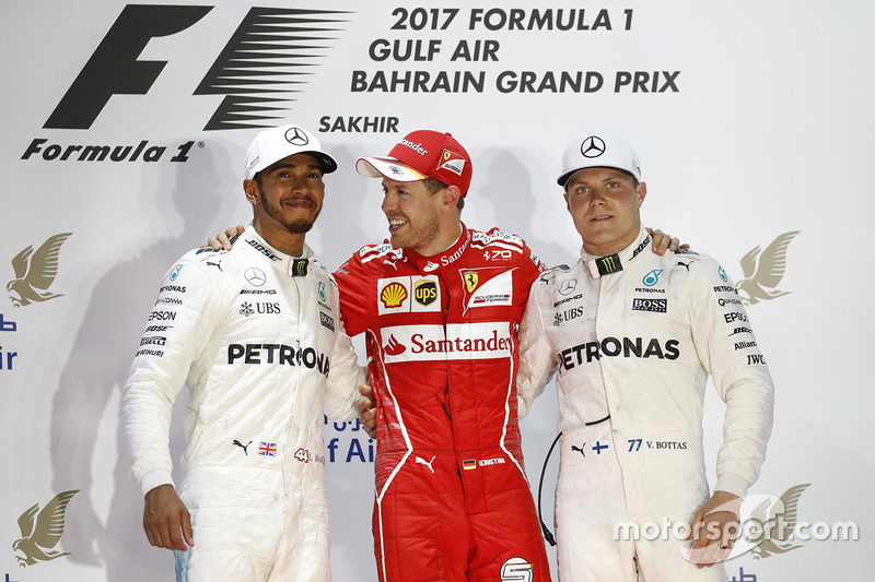 Podium: race winner Sebastian Vettel, Ferrari, second place Lewis Hamilton, Mercedes AMG F1, third place Valtteri Bottas, Mercedes AMG F1