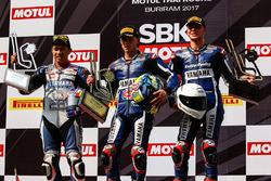 Podium : le vainqueur Federico Caricasulo, GRT Yamaha Official WorldSSP Team, le deuxième, Decha Kraisart, Yamaha Thailand Racing Team, le troisième, Niki Tuuli, Kallio Racing