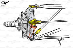 McLaren MP4-13 front suspension and steering arm
