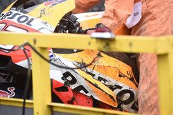 Marc Marquez, Repsol Honda Team, crashed bike