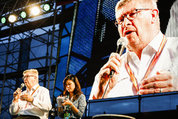 Ross Brawn, Managing Director of Motorsports, FOM, on stage in the F1 Fanzone