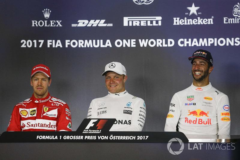 Basın Toplantısı: Yarış galibi Valtteri Bottas, Mercedes AMG F1, 2. Sebastian Vettel, Ferrari, 3. Daniel Ricciardo, Red Bull Racing