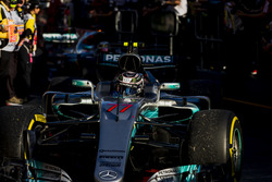 Valtteri Bottas, Mercedes AMG F1 W08, 3rd Position, arrives in Parc Ferme