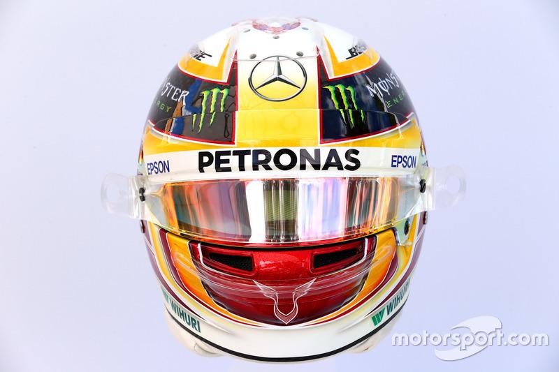 Le casque de Lewis Hamilton, Mercedes AMG F1 W08