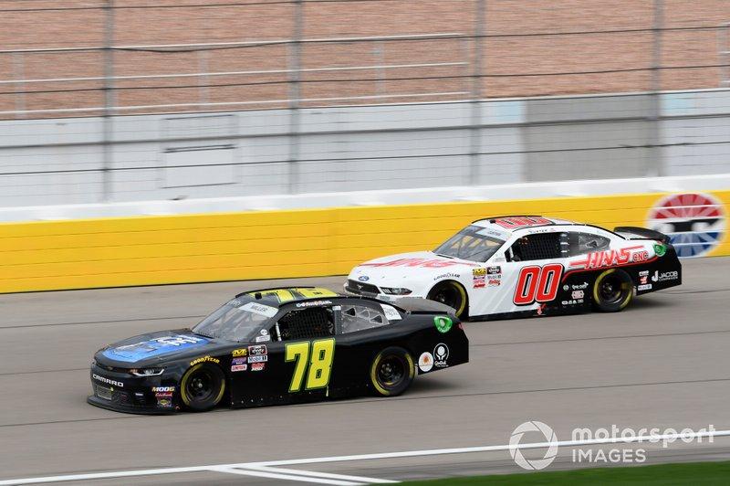 Vinnie Miller, B.J. McLeod Motorsports, Chevrolet Camaro Koobox, Cole Custer, Stewart-Haas Racing, Ford Mustang Haas Automation