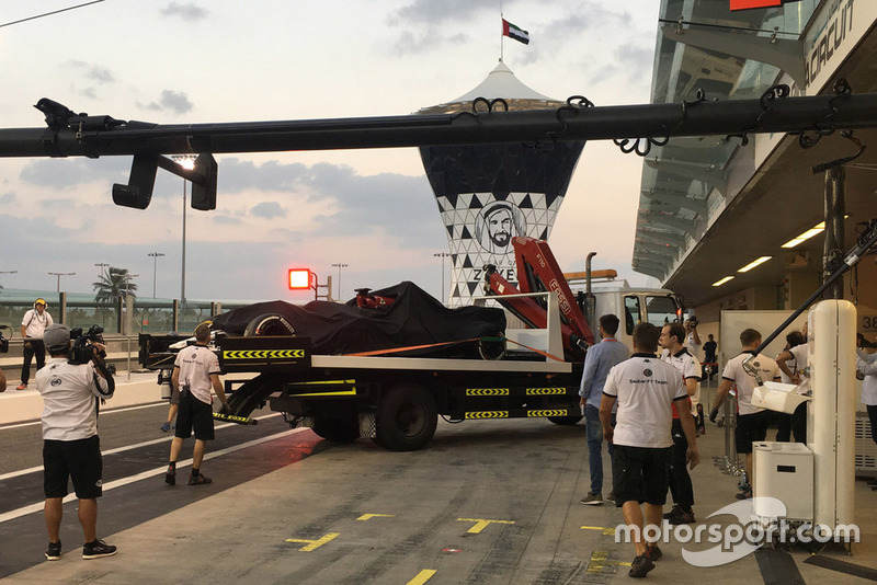 Sauber C37 of Kimi Raikkonen back on a truck in the pitlane