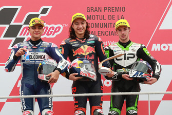 Podyum: Yarış galibi Can Öncü, Red Bull KTM Ajo, 2. Jorge Martin, Del Conca Gresini Racing, 3. John McPhee, CIP Green Power