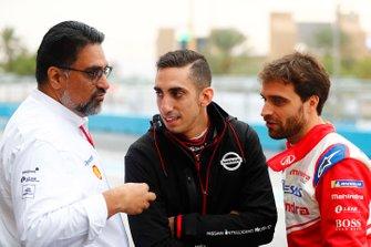 Dilbagh Gill, Team Principal, Mahindra Racing, avec Sébastien Buemi, Nissan e.Dams, Jérôme d'Ambrosio, Mahindra Racing